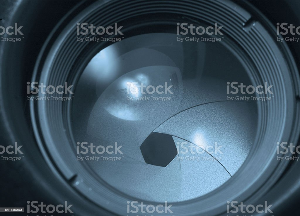 Photo of camera lens on aperture 2 setting stock photo