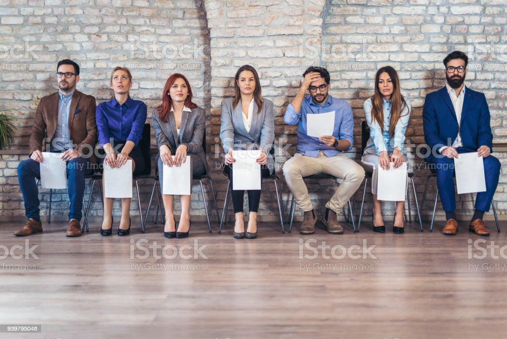Photo of candidates waiting for a job interview royalty-free stock photo