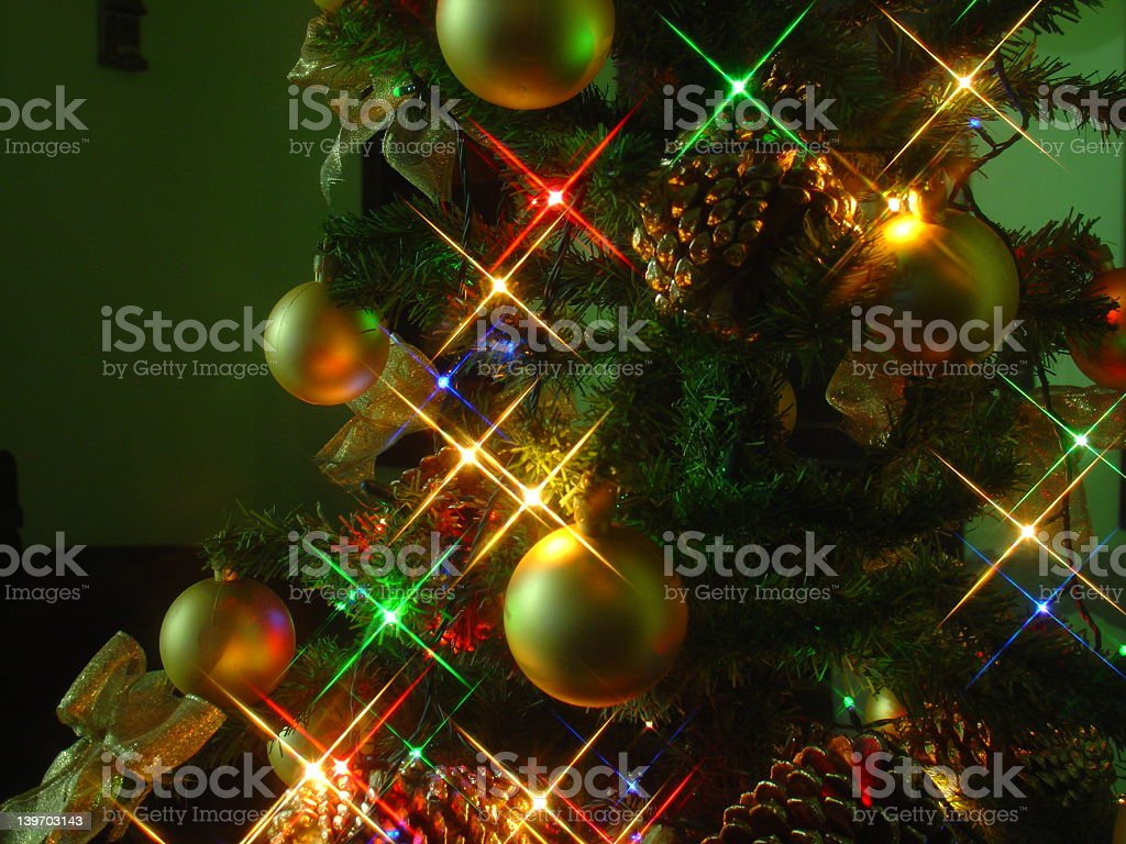 Photo of Christmas tree decorated with lights and ornaments royalty-free stock photo