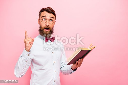 istock Photo of clever intelligent geek scholar erudite scientist having great solution innovation isolated pastel background 1163528264