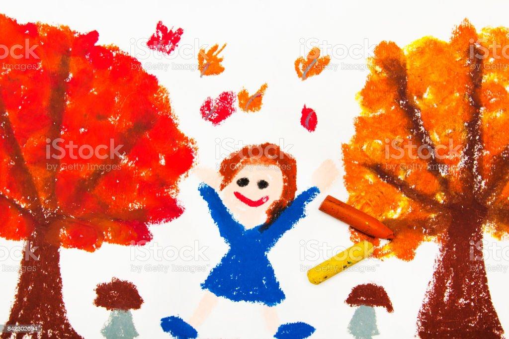 Foto Von Bunte Zeichnung Herbst Baume Mit Gelben Und Roten Blattern