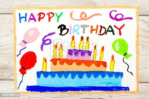 istock Photo of colorful drawing: Birthday cake 870788316