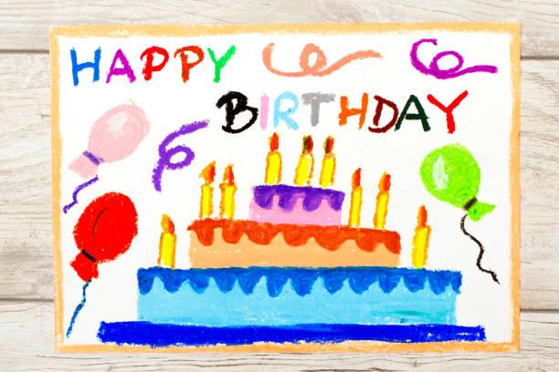 foto von bunte zeichnung: geburtstagstorte - einladungskarten kindergeburtstag stock-fotos und bilder