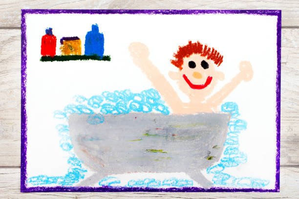 Photo of colorful drawing: boy in the bathtub Photo of colorful drawing: boy in the bathtub cartoon and kids stock pictures, royalty-free photos & images