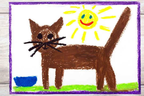 foto von bunte zeichnung: braune katze - katze zeichnen stock-fotos und bilder