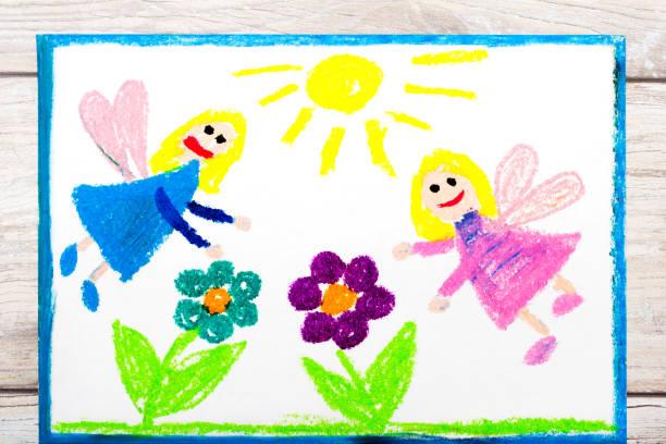 foto von bunte zeichnung: charmante feen und blumen. magisches land - engel zeichnen stock-fotos und bilder