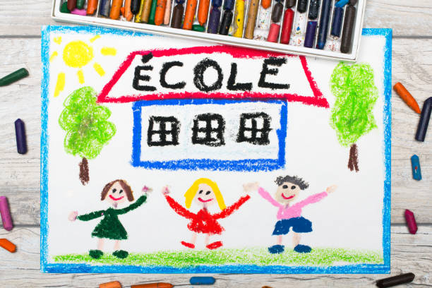 Photo of  colorful drawing: French word SCHOOL, school building and happy children. First day at school. Photo of  colorful drawing: French word SCHOOL, school building and happy children. First day at school. ecole stock pictures, royalty-free photos & images