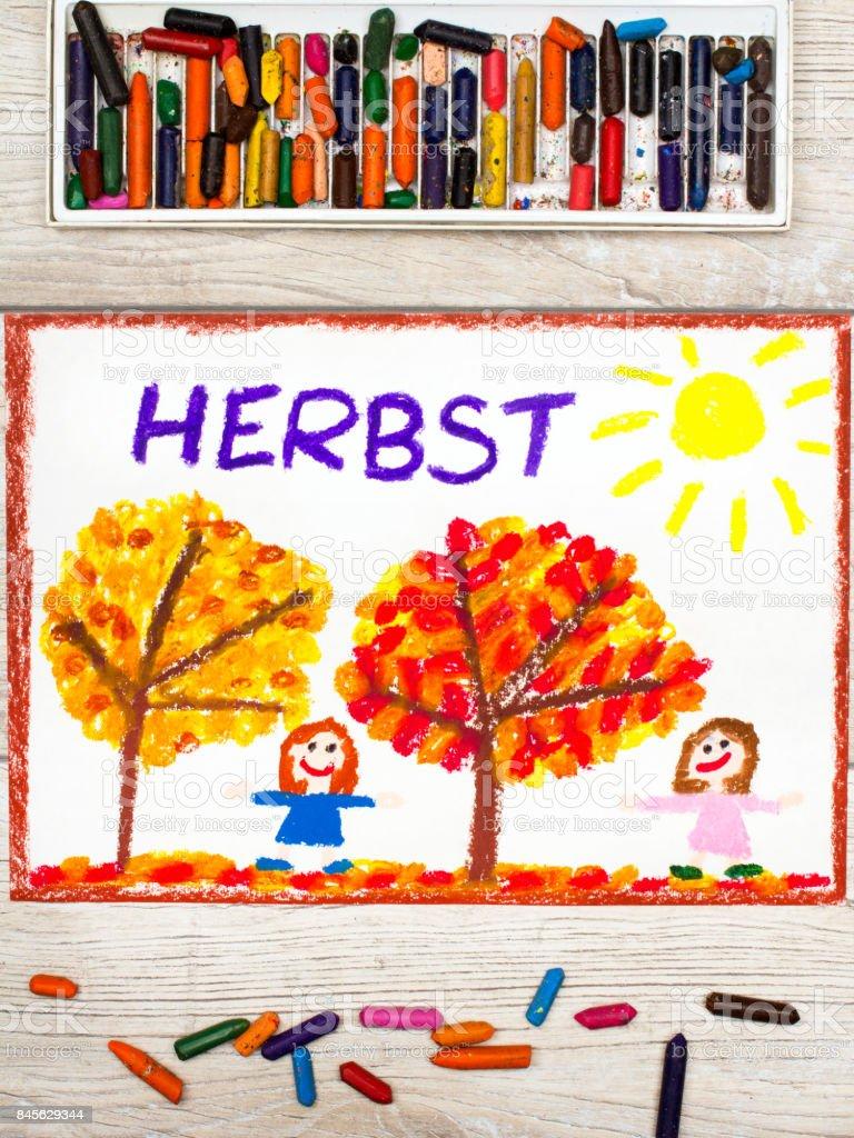 Foto Von Bunte Zeichnung Deutsche Wort Herbst Baume Mit Roten Und