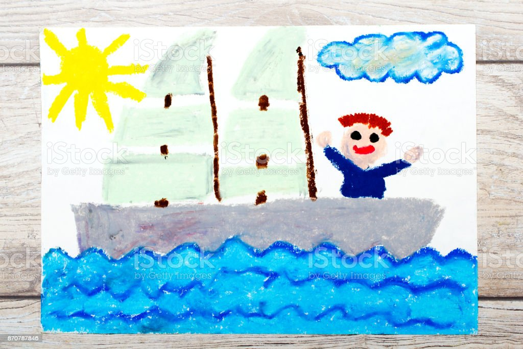 Photo of colorful drawing: Happy boy on a yacht stock photo