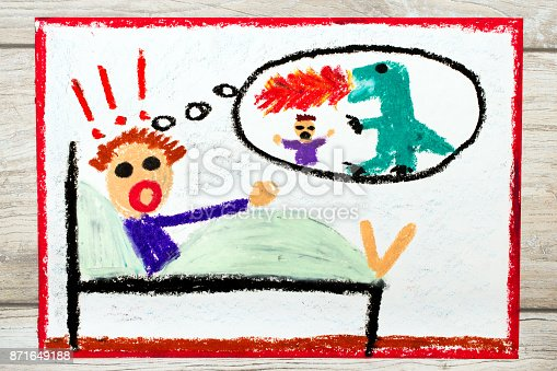 istock Photo of colorful drawing: Little boy has nightmares. Scary nightmare creature 871649188