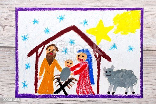 istock Photo of colorful drawing: Nativity scene. Christmas time 900951056