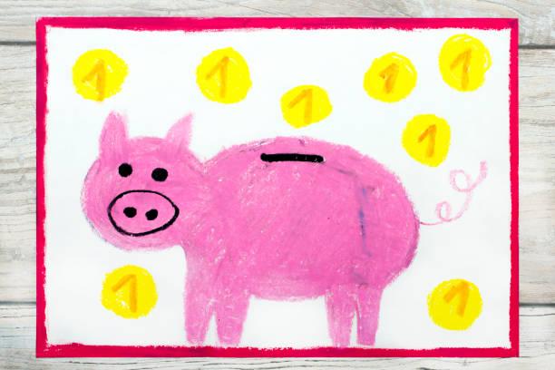 foto av färgglada ritning: rosa spargris och mynt. - animal doodle bildbanksfoton och bilder
