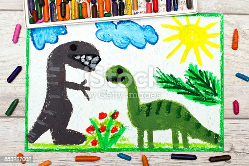 istock Photo of colorful drawing: Smiling dinosaurs. Big diplodocus and tyrannosaurus rex 853227002