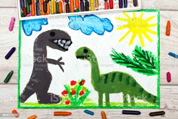 Photo of colorful drawing smiling dinosaurs big diplodocus and rex picture id853227002?b=1&k=6&m=853227002&s=612x612&h=j sowlkudoelrpt1yyn7zmqqpqshjxqiujgvver0ztm=