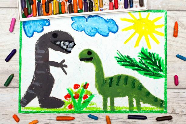 foto av färgglada ritning: leende dinosaurier. stora diplodocus och tyrannosaurus rex - animal doodle bildbanksfoton och bilder