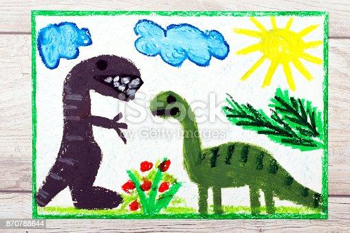 istock Photo of colorful drawing: Smiling dinosaurs. Big diplodocus and tyrannosaurus rex 870788644