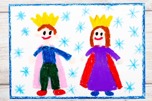 photo of colorful drawing: smiling king and queen with their crowns - principe persona nobile foto e immagini stock