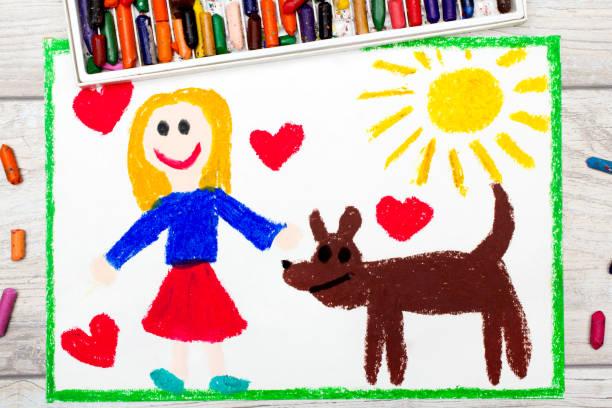 foto av färgglada ritning: leende liten flicka och hennes söta hund - animal doodle bildbanksfoton och bilder