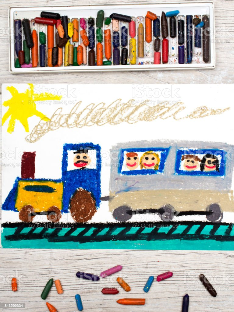 Photo of colorful drawing: train with smiling passengers stock photo