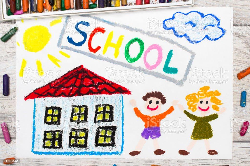 Foto De Foto De Desenho Colorido Palavra Escola Edificio Da Escola