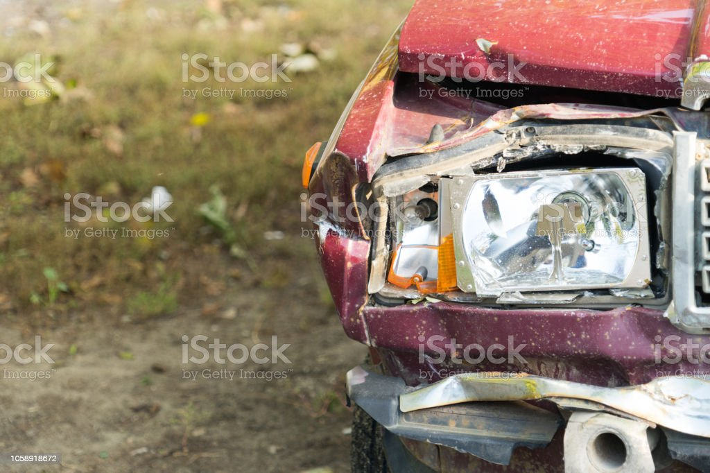 Photo of damage to the car after the accident. Place for your text