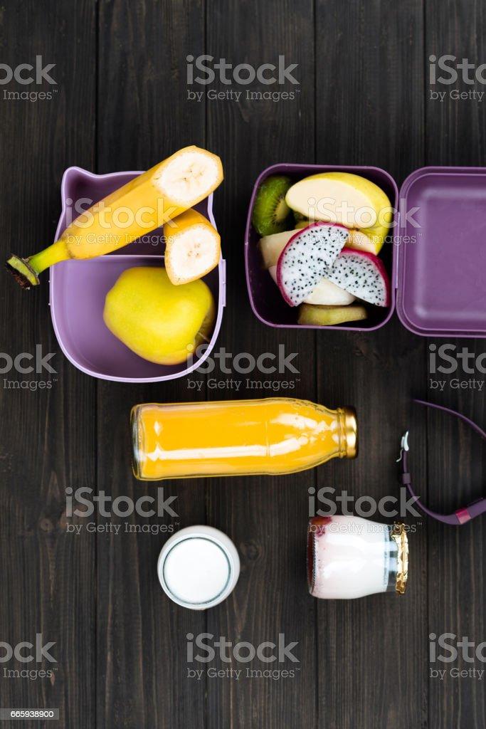 Photo of different fruits lying in boxes foto stock royalty-free