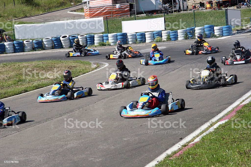 A photo of drivers on a kart racing game royalty-free stock photo
