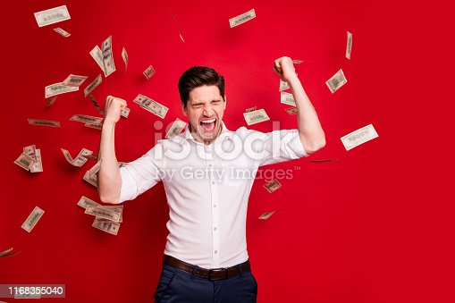 969671638 istock photo Photo of ecstatic overjoyed man rained with bucks banknotes achieving success while isolated with red background 1168355040