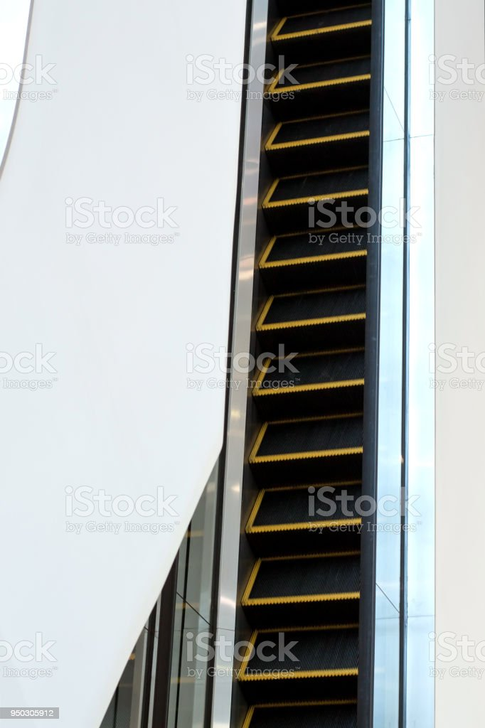 Photo Of Escalator, Moving Staircase In The Metro, Shopping Centers  Royalty Free Stock