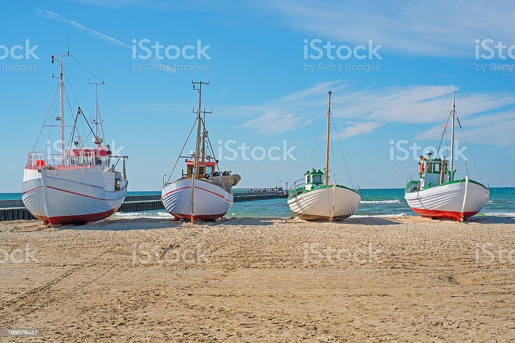 A photo of Fishing boat on the beach, Jutland, Denmark royalty-free stock photo