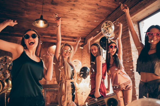 Photo of five ecstatic funny funky cool swag charming laughing nice positive glad girls having vacation holiday disco relax wearing specs eyewear Photo of five ecstatic funny funky cool swag charming laughing nice positive glad girls, having vacation holiday disco relax wearing specs eyewear bachelor stock pictures, royalty-free photos & images
