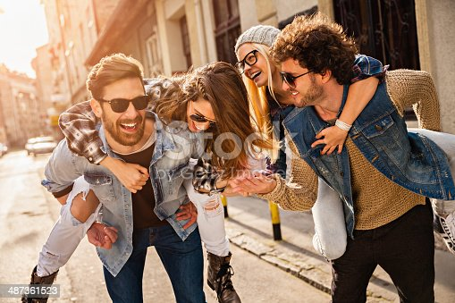 istock Photo of friends having fun in city 487361523
