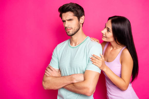 Photo of funny couple guy blaming lady in cheating standing angry and mad waiting apologizing wear casual clothes isolated vibrant pink color background Photo of funny couple guy blaming lady in cheating standing angry and mad waiting, apologizing wear casual clothes isolated vibrant pink color background former stock pictures, royalty-free photos & images
