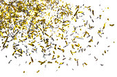 istock Photo of golden confetti on a white background. 909452690