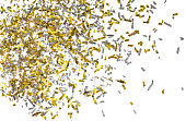 istock Photo of golden confetti on a white background. 909452726