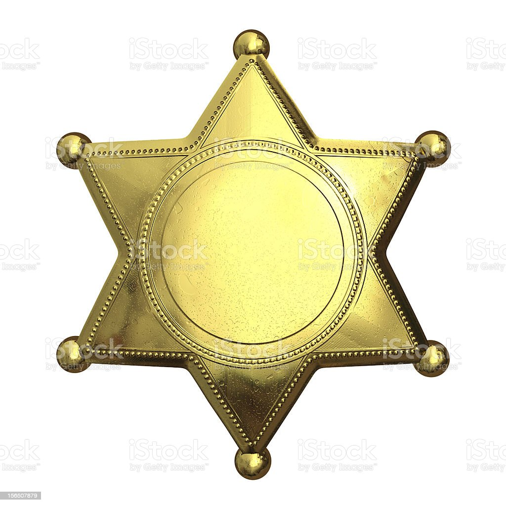 Photo of golden sheriff's badge on isolated white stock photo