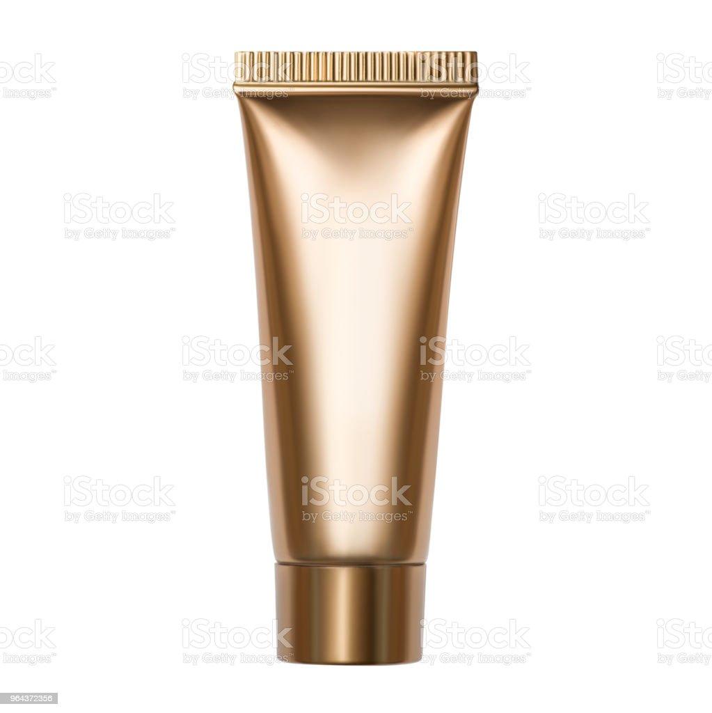 Foto van gouden buis met cosmetisch product geïsoleerd op witte achtergrond - Royalty-free Aromatherapie Stockfoto
