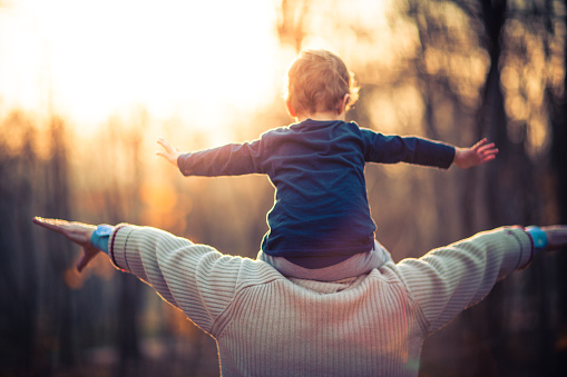 istock Photo of grandfather and his grandson in the park 506236746