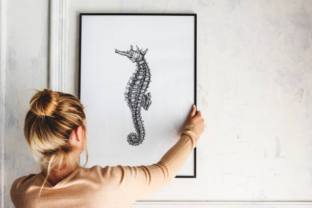 photo of hand drawing seahorse is hanging on the wall - decorating stock photos and pictures