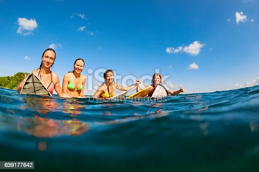 583830686 istock photo Photo of happy surfer girls sitting on surf boards 639177642