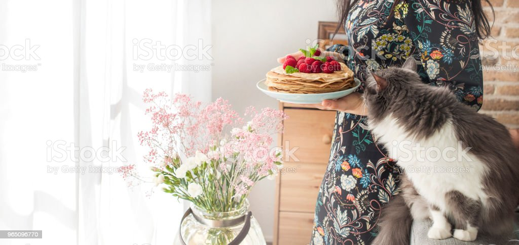 Photo of happy young woman standing at the kitchen near the window in home and cat. Focus on pancakes. Copy space royalty-free stock photo