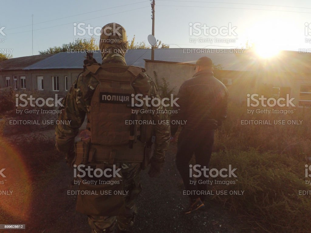 A photo of investigative actions of the police. stock photo