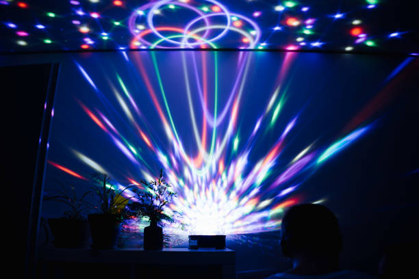 photo of laser light in a house party stock photo