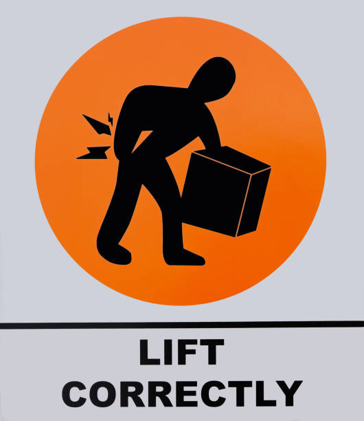 Photo of Lift Correctly sign isolated on white background. stock photo