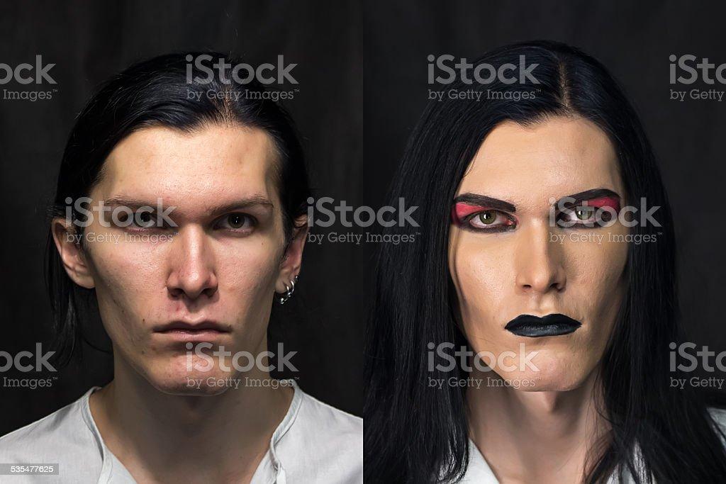 Photo of man's make up stock photo