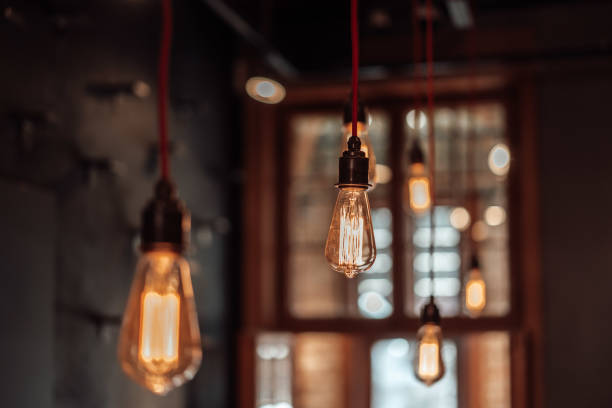 photo of modern lamps hanged from the ceiling stock photo
