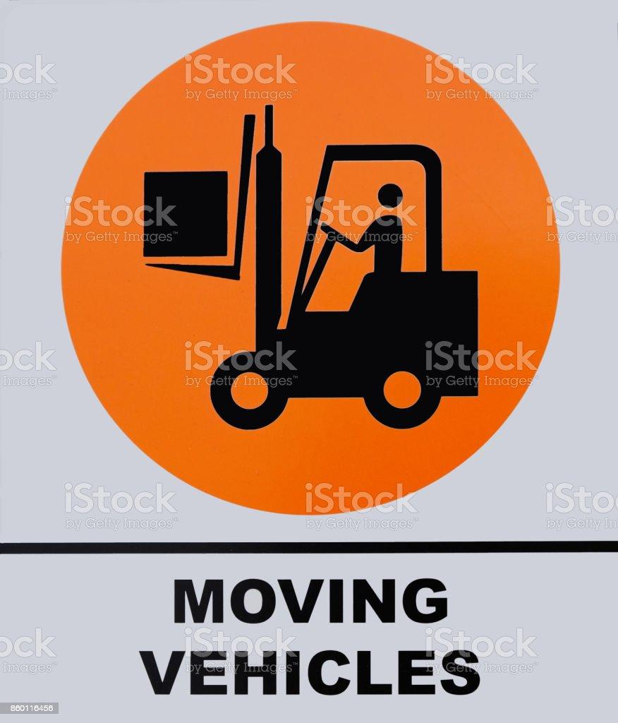 Photo of Moving Vehicle sign isolated on white background. stock photo