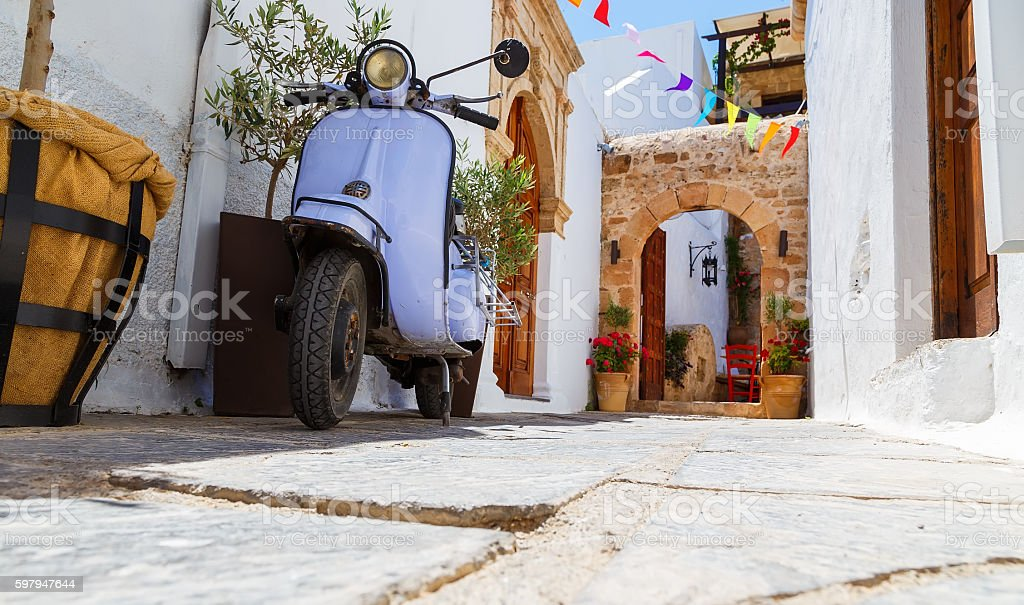 photo of narrow street in Lindos. Rhodes stock photo