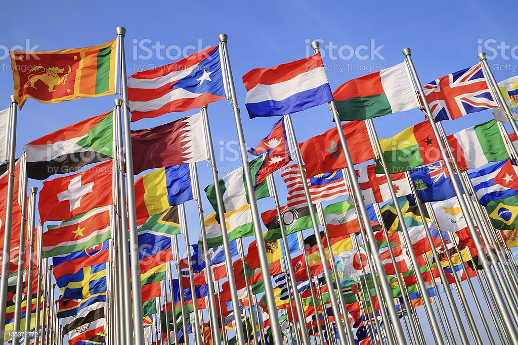 A photo of national flags from around the world stock photo