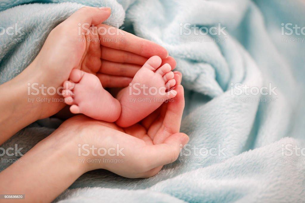 Photo of newborn baby feet stock photo